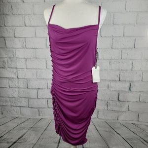 Leith - purple straps knee length rushed dress